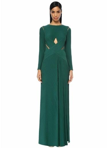 Tadashi Shoji Dekolteli Uzun Kol Maksi Elbise Yeşil
